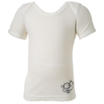 Babies Short Sleeve Merino Tops - $20 clearance in Vanilla and Liquorice.
