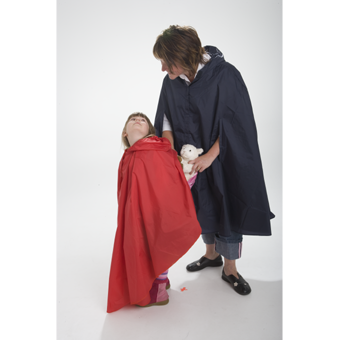 Kids raincape covers your child and their bag.