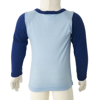 Merino Babies Long Sleeve Top Back Shot in blue.