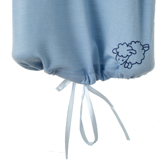 Merino Babies Nightdress Tied Detail Shot in blue.