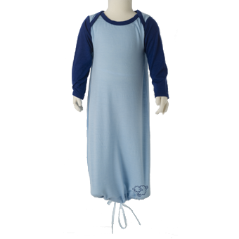 Merino Babies Nightdress Tied Front Shot in blue.