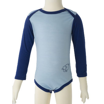 Merino Long Sleeve Body Suit in blue.