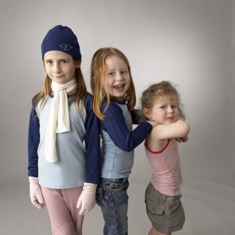 Kids in Marselme Merino Top's, Cuffed Leggings, Beanie, Gloves, Scarf and Camisole.