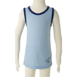 Merino Kids Sleeveless Top $39 - $45  in Vanilla, Blue & Pink.