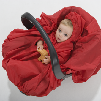 The Baby Marselme Playtime Raincape covers car seat..